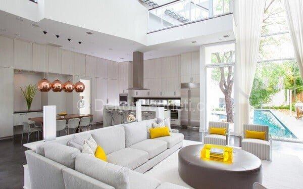 gri ve sarı amerikan mutfak dekorasyon fikirleri
