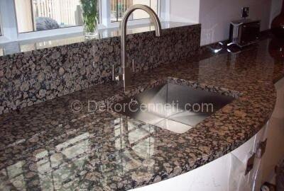 Güzel bordo granit mutfak tezgahı Galeri