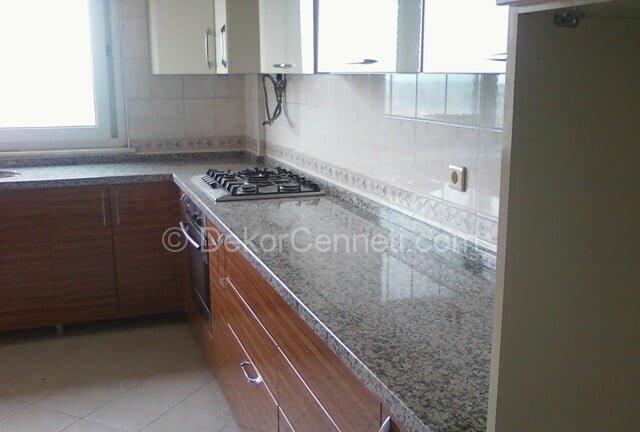 Güzel gri granit mutfak tezgahı Görselleri