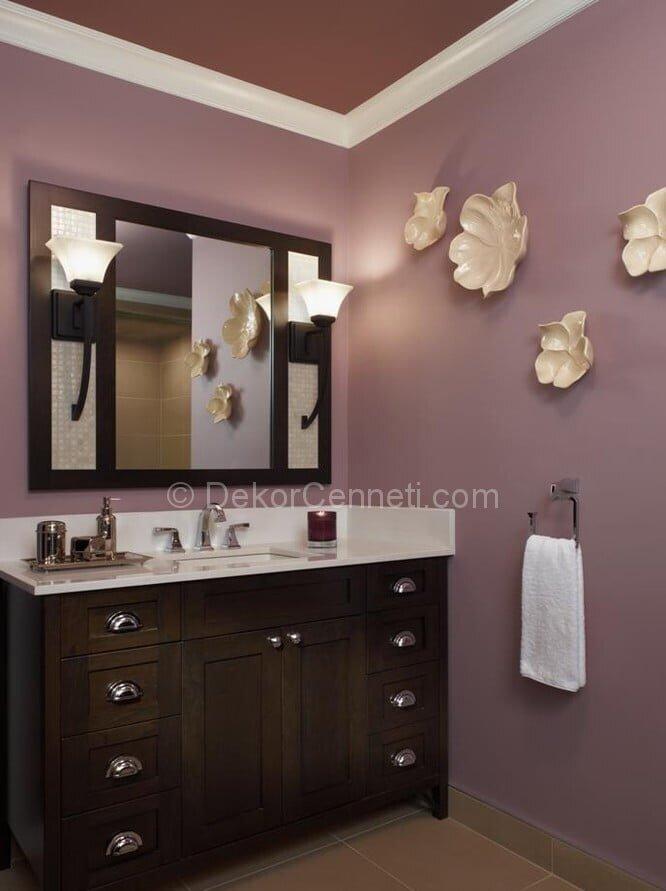 Güzel mor banyo dekorasyonu Galeri