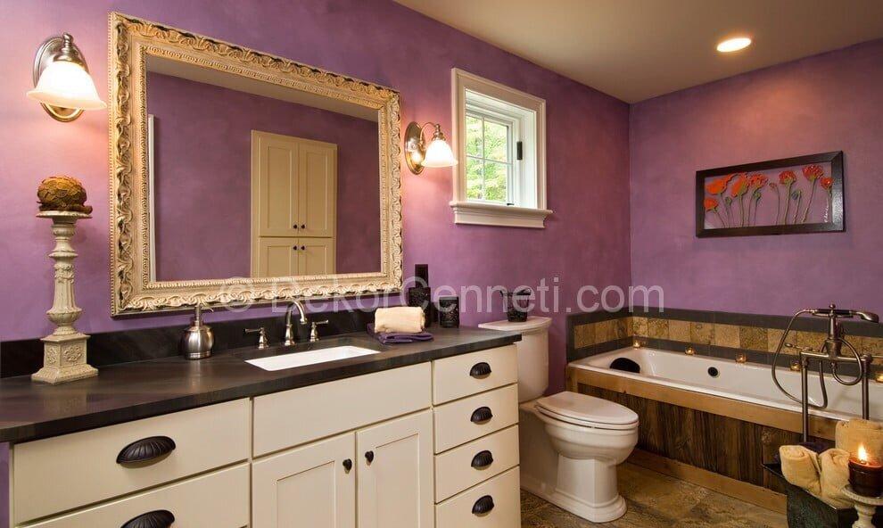 Güzel mor banyo dekorasyonu Görselleri