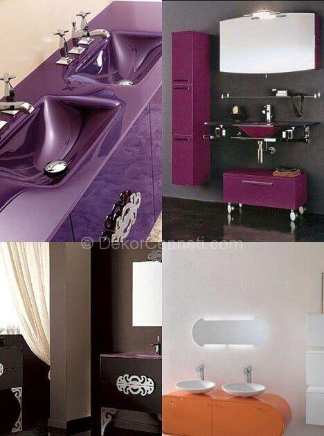 Güzel mor banyo dolabı Resimleri