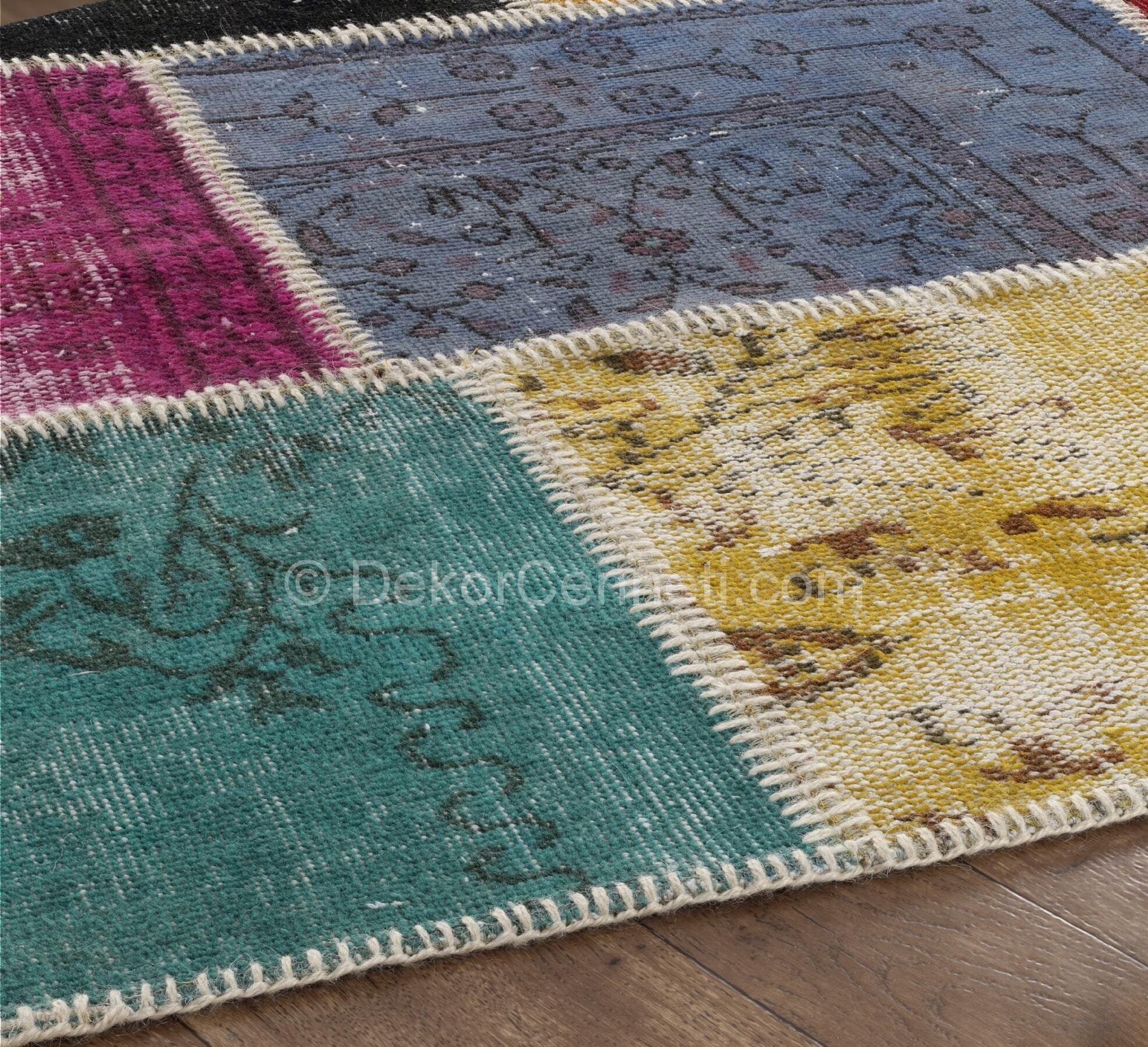 Güzel patchwork halı turkuaz Fotoları