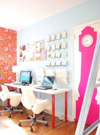 iki kişilik home ofis dekorasyonu