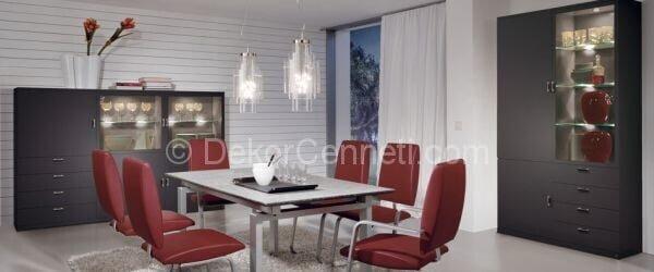 kırmızı gri yemek odası dekorasyonu