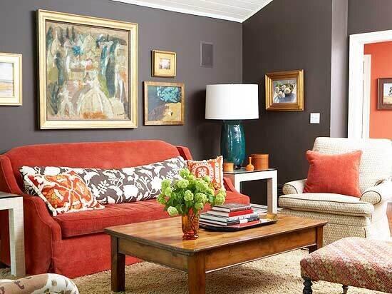 kırmızı oturma odası dekorasyon fikirleri