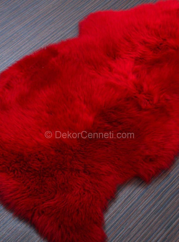 kırmızı peluş halı