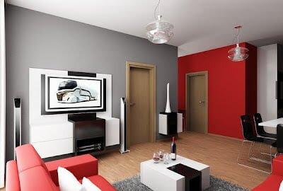 kırmızı ve beyaz salon dekorasyon örnekleri