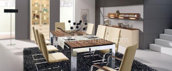 kahve krem renkli yemek odası
