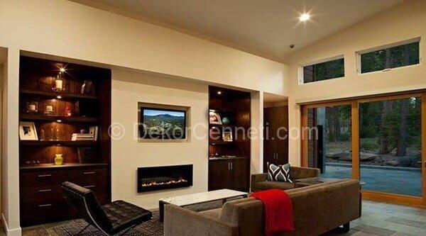 kahverengi oturma odası dekorasyon örnekleri