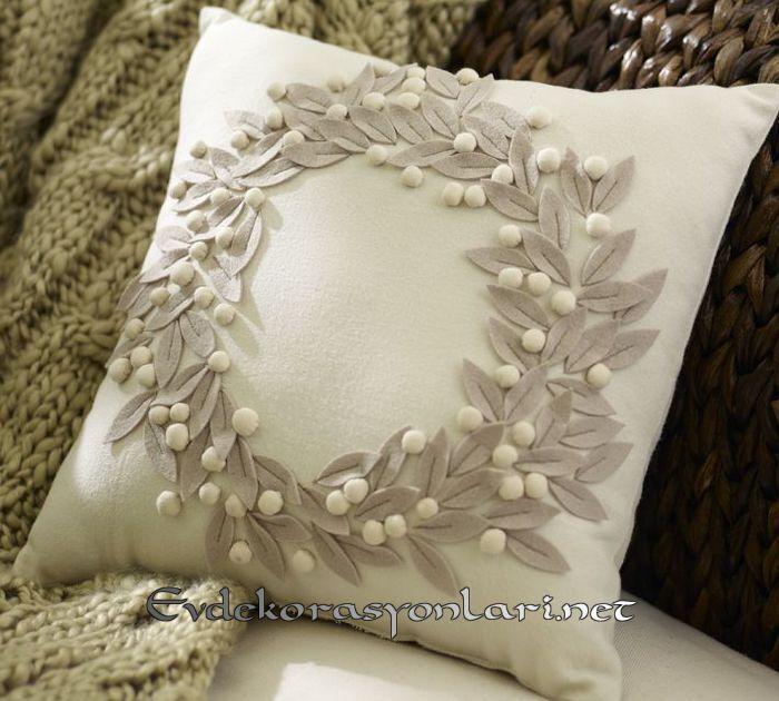 keceden zeytin dali motifli dekoratif kirlent modeli