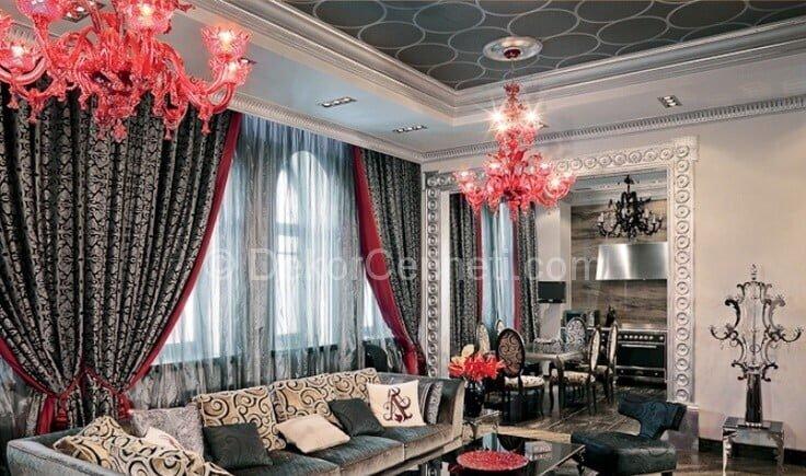 klasik salon dekorasyonunda gri ve kırmızı rengin kullanımı