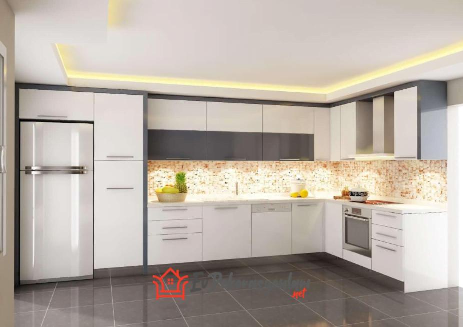 Köşeli Mutfak Dolapları Modelleri 2021