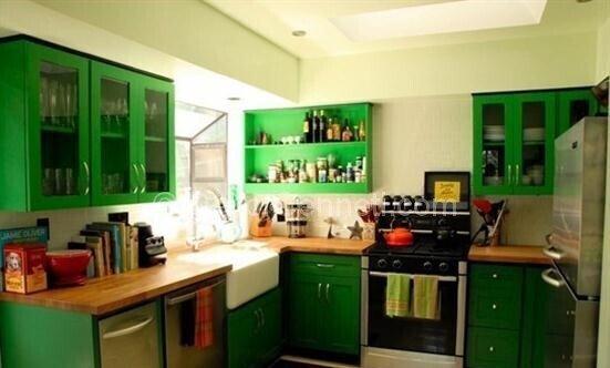 koyu yeşil mutfak dolapları