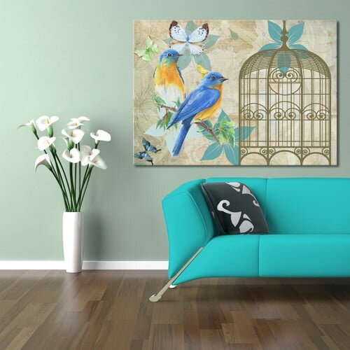 kus ve kafesi dekoratif tablo modeli