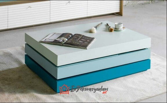 loda mobilya modern tarz mavi orta sehpa modeli