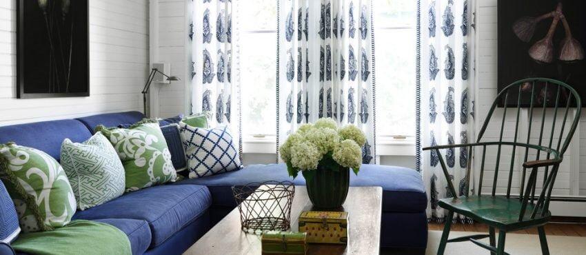 mavi beyaz desenli salon perdesi modeli 2020