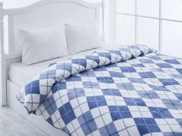 mavi beyaz kare desenli english home battaniye modeli