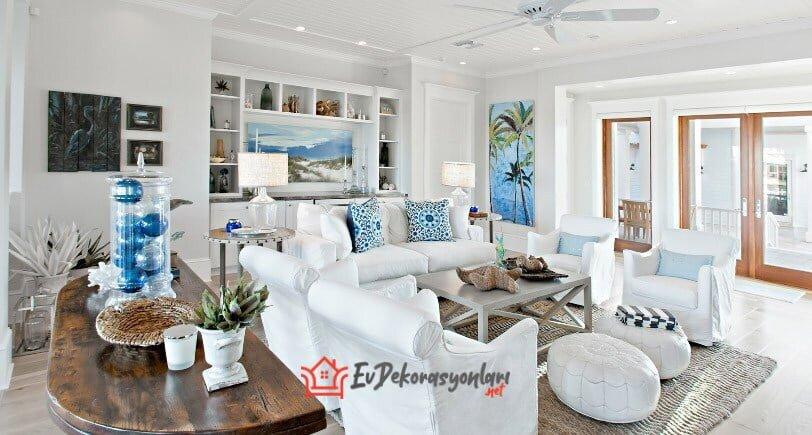 mavi beyaz marin stili yazlik ev dekorasyon modeli 2019