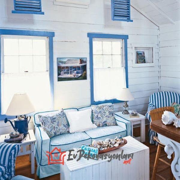 mavi beyaz marin stili yazlik ev dekorasyonu 2019