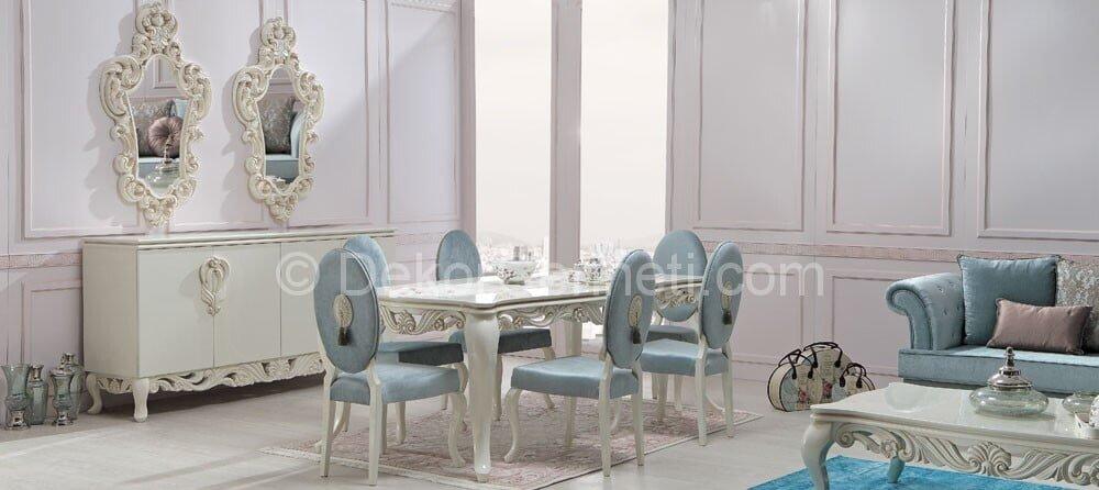 mavi beyaz yemek odaları