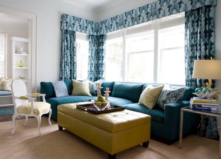 mavi dekoratif desenli salon perdesi modeli 2020