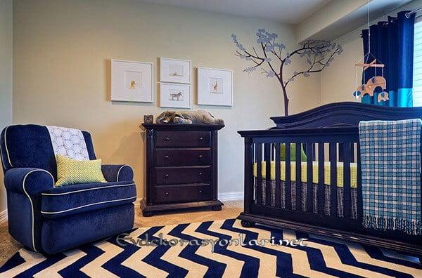 mavi erkek bebek odasi dekorasyonu
