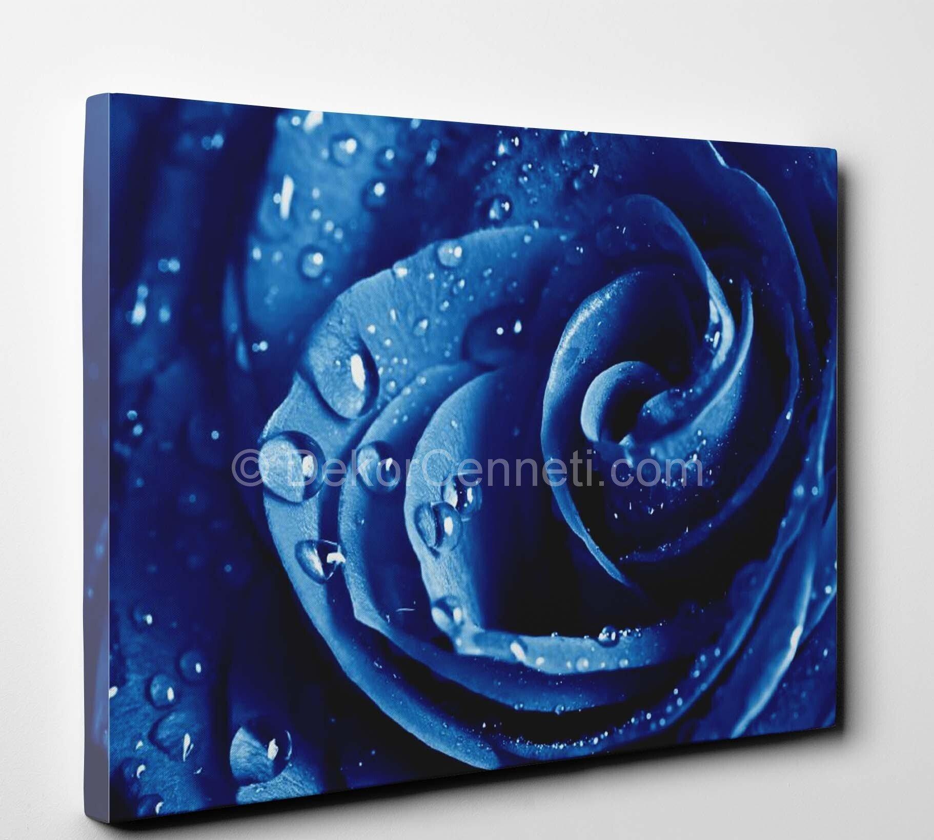 Mavi Gül Çiçekli Canvas Tablo