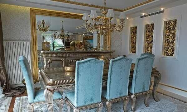mavi-klasik-yemek-odasi-takimlari