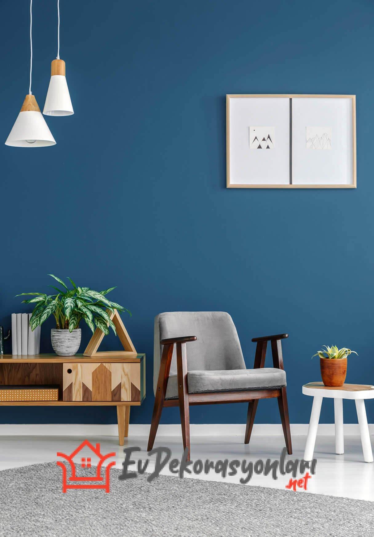 Mavi Tonlarında Salon Dekorasyonu