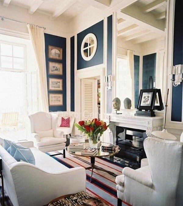 mavi ve beyaz salon dekorasyonu