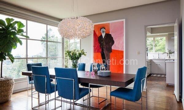 mavi yemek odası dekorasyonu