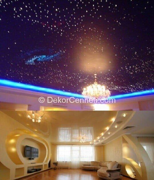 Moda yatak odası asma tavan Fotoğrafları