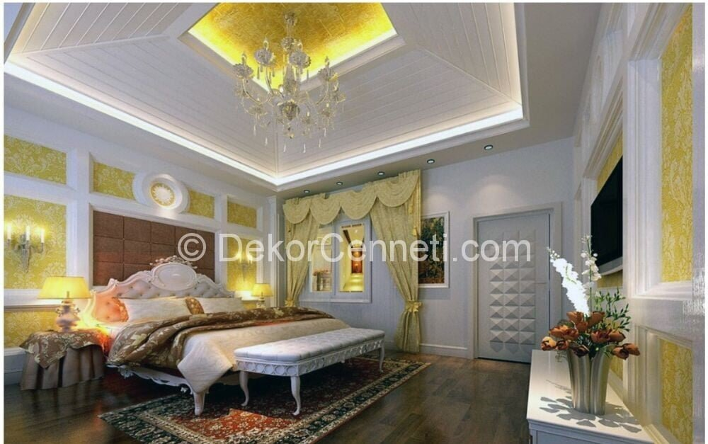 Moda yatak odası asma tavan Modelleri