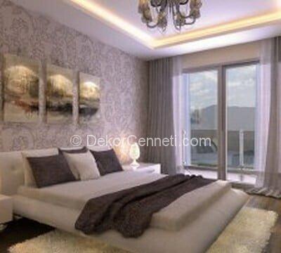 Moda yatak odası için asma tavan modelleri Fotoğrafları