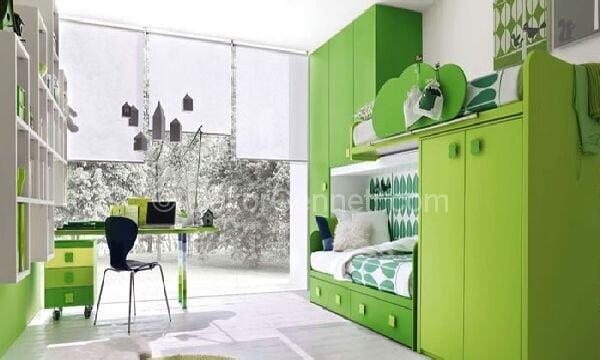 Modern Öğrenciler için Yeşil oda Dekorasyonu