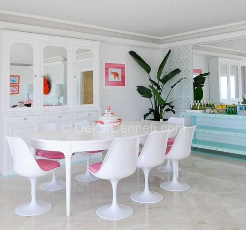 modern şık yemek odası dekorasyonu
