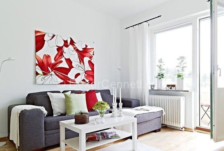modern gri oda dekorasyonu