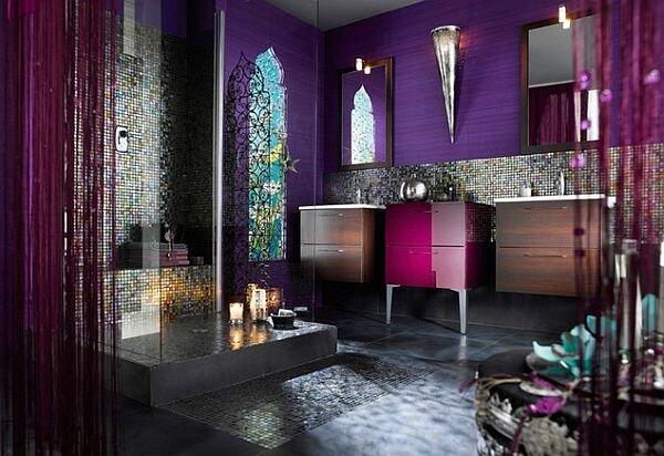 Modern mor rengi banyo dekorasyonu