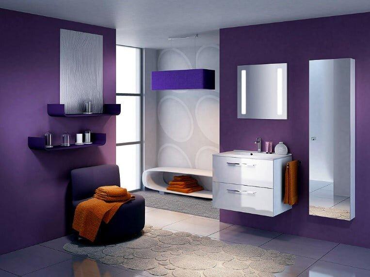 Modern mor rengi banyo