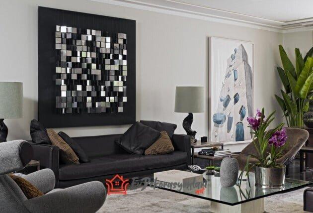 modern tarz siyah beyaz ev dekorasyonu