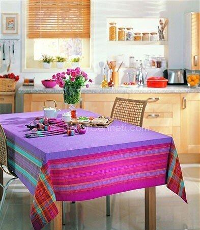 mor mutfak masa örtüsü