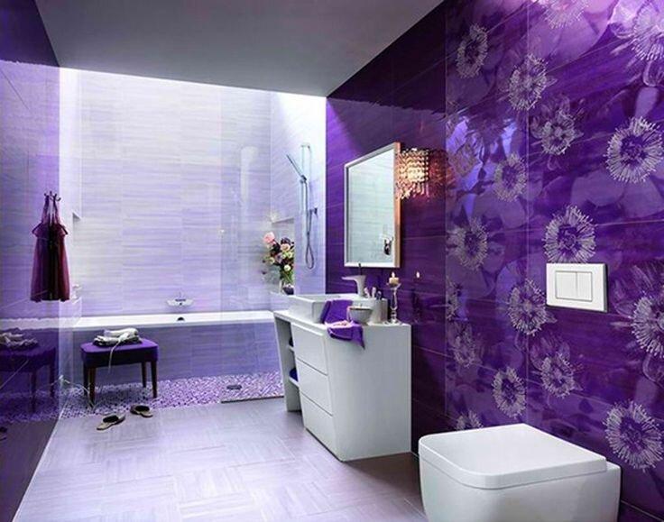 Mor rengi modern banyo dekorasyonu