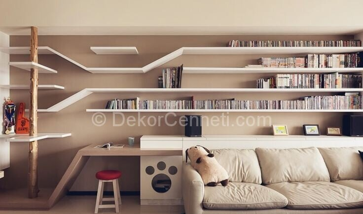 Spacious Perfect Cat House with Large Living Room and Large White Sofa