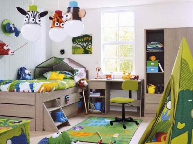 oyun alanli erkek cocuk odasi dekorasyon modeli 2019