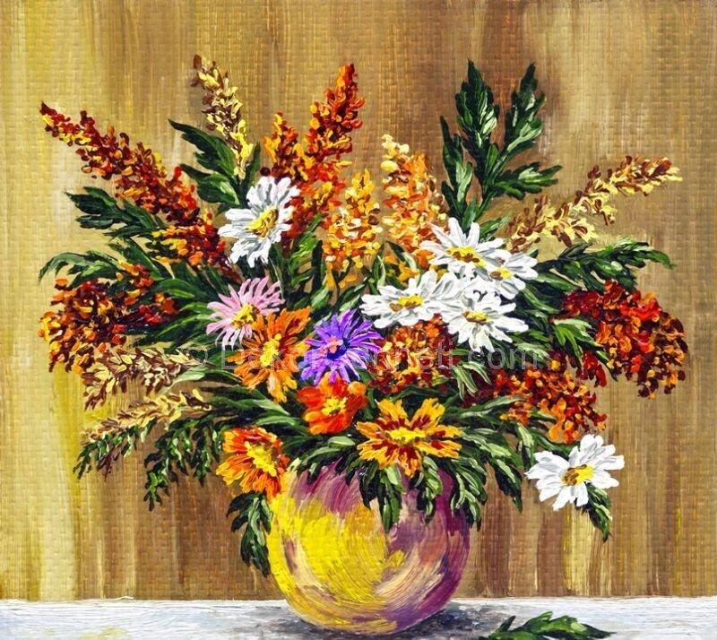 Papatyalar Canvas Tablo -026 Yağlıboya Çiçekler