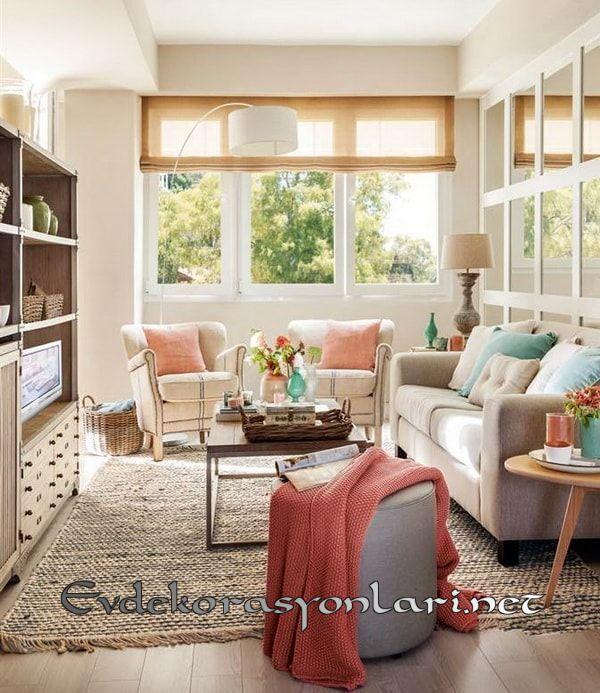 pastel renkli oturma odasi dekorasyon modeli