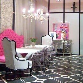 pembe lüks yemek odası dekorasyonu