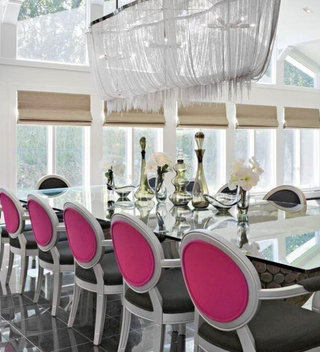 pembe ve gri yemek odası dekorasyonu