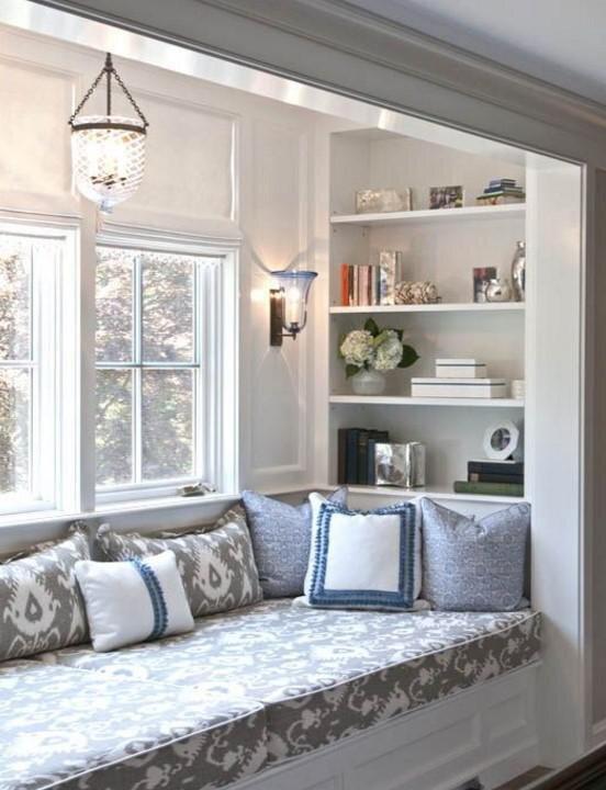 pencere onu sedirli dinlenme kosesi dekorasyon modeli